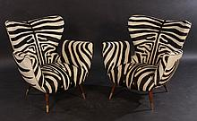PAIR ITALIAN FAUX ZEBRA LEATHER CHAIRS 1960