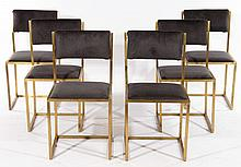 SET 6 BRASS DINING CHAIRS UPHOLSTERED 1970