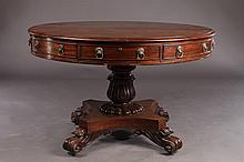 WILLIAM IV ROUND CENTER TABLE 4 DRAWERS