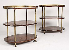 PAIR OF MAHOGANY & BRASS COCKTAIL TABLES C. 1950