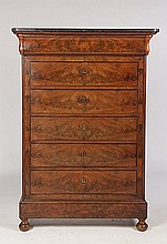 LOUIS PHILIPPE BOOK MATCHED MAHOGANY SEMAINIER