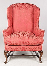 QUEEN ANNE UPHOLSTERED WING CHAIR LOOSE CUSHION