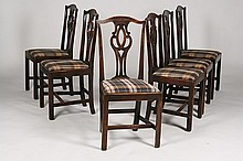 SET 6 CARVED OAK CHIPPENDALE DINING CHAIRS