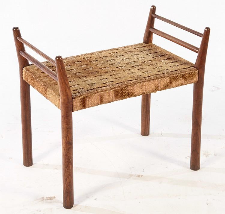 Italian Oak Bench With Rush Seat Circa 1940