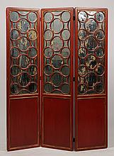JAMES MONT STYLE 3 PANEL PAINTED SCREEN C. 1940