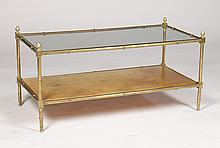 BRASS FUAX BAMBOO COFFEE TABLE GLASS TOP C. 1960