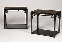 PR JAMES MONT STYLE EBONIZED END TABLES C. 1950