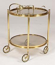 BRASS DRINKS CART REMOVABLE SERVING TRAY C. 1950