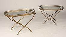 PAIR OF REGENCY STYLE BRONZE FOLDING TRAY TABLES CIRCA 1950