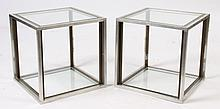 PAIR MODERN CHROME BRASS 2 TIER END TABLES