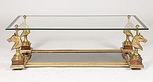 BRONZE MAISON CHARLES COFFEE TABLE BEVELED GLASS