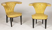 PAIR OF DUNBAR COCK FIGHTING CHAIRS UPHOLSTERED