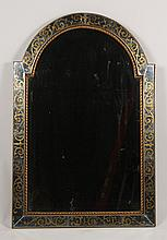 ARCH TOP MIRROR EGLOMISE DECORATED BORDER C. 1940