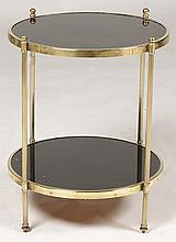 BRASS 2 TIERED DRINKS TABLE GLASS SHELVES C.1960