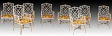 SET OF 8 MCGUIRE RATTAN FAUX BAMBOO ARM CHAIRS