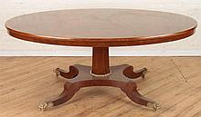 REGENCY STYLE BANDED BURL WOOD DINING TABLE C1950