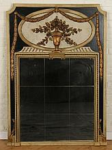 CARVED POLYCHROMED TRUMEAU MIRROR C.1940