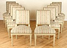 SET 10 PAINTED JANSEN DINING ROOM CHAIRS C.1940