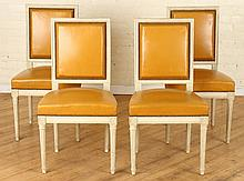 SET 4 LOUIS XVI STYLE PAINTED WOOD CHAIRS