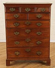 CHIPPENDALE 9 DRAWER TALL CHEST C. 1800