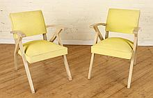 PAIR FRENCH ARM CHAIRS UPHOLSTERED  C.1960