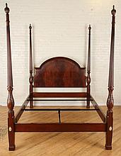 QUEEN SIZE BAKER MAHOGANY 4 POST BED