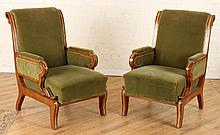 PAIR RUSSIAN UPHOLSTERED MAHOGANY ARM CHAIRS