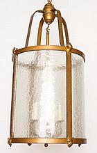 GILT IRON CYLINDER FORM LANTERN FROSTED GLASS