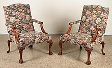 PAIR OF MAHOGANY CHIPPENDALE STYLE LIBRARY CHAIRS