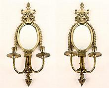 PAIR BRONZE SCONCES WITH MIRROR AND CRYSTALS