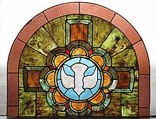 ARCHED TOP STAINED GLASS PANEL CIRCA 1920