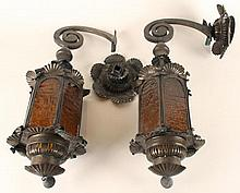 PAIR ANTIQUE TIN WALL LANTERNS AMBER GLASS C.1910