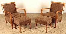 A PAIR OF ITALIAN WALNUT OPEN ARM CHAIRS C.1950