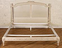 CARVED PAINTED LOUIS XVI STYLE BED CIRCA 1930