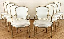 SET 8 LOUIS XV UPHOLSTERED DINING CHAIRS C. 1950