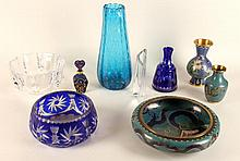 LOT OF 9 ITEMS GLASS AND CLOISONNE