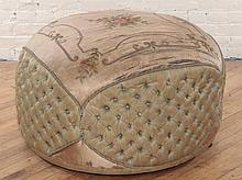 CIRCULAR NAPOLEON III STYLE UPHOLSTERED POOF 1900