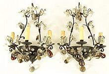 PAIR FRENCH IRON CRYSTAL WALL SCONCES C.1930