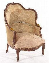 A FRENCH LOUIS XV CARVED WALNUT BERGERE C. 1880