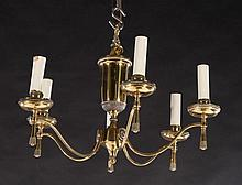 EMPIRE STYLE BRASS CHANDELIER 6 ARMS