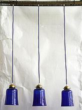 BRONZE AND GLASS LIGHT FIXTURE WITH 3 SHADES