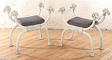 PAIR NEOCLASSICAL STYLE CURULE FORM BENCHES