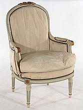 FRENCH LOUIS XVI STYLE BERGERE CHAIR C.1920