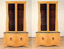 PAIR NEOCLASSICAL STYLE SATINWOOD CORNER CABINETS