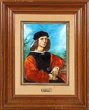 ENAMELED PORTRAIT OF RAPHAEL MAHOGANY FRAME