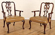 PAIR EARLY 20TH C. WALNUT OPEN ARM CHAIRS LEATHER
