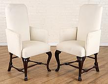 PAIR QUEEN ANNE STYLE UPHOLSTERED OPEN ARM CHAIRS