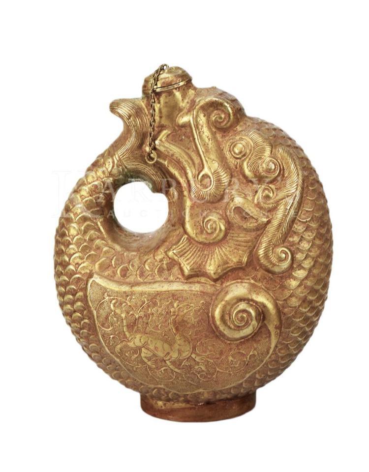 A Gilt Bronze Wine Flask