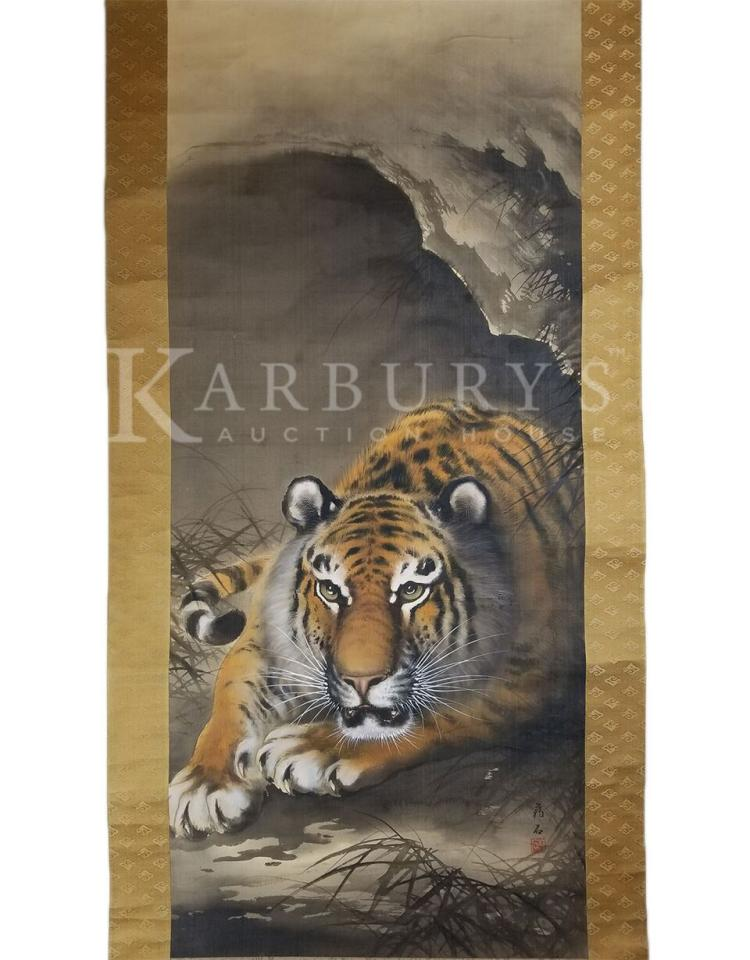 A Scroll Painting of a Tiger in a Cave, Ink and Color on Silk