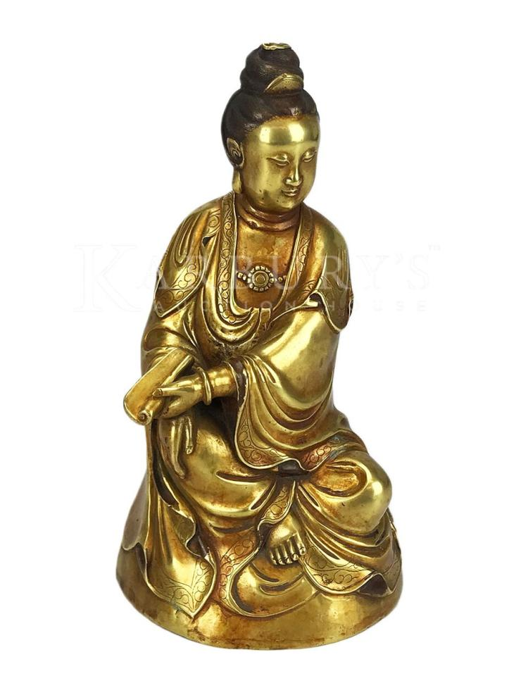 A Bronze Seated Guan Yin with a Yongli Mark